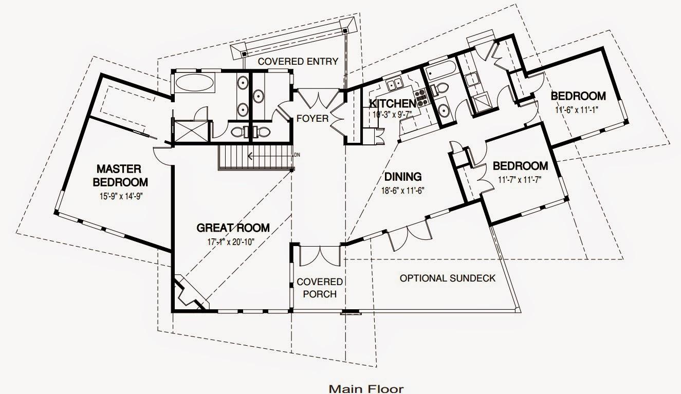 plano de casa de un piso con forma y techo extravagante de 3 dormitorios - cuartos con medidas en pies cuadrados