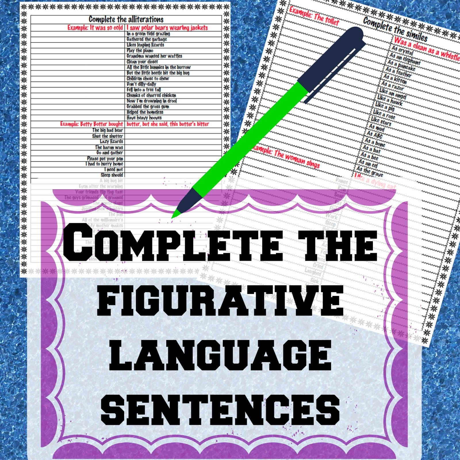 Identifying figurative language worksheet 1