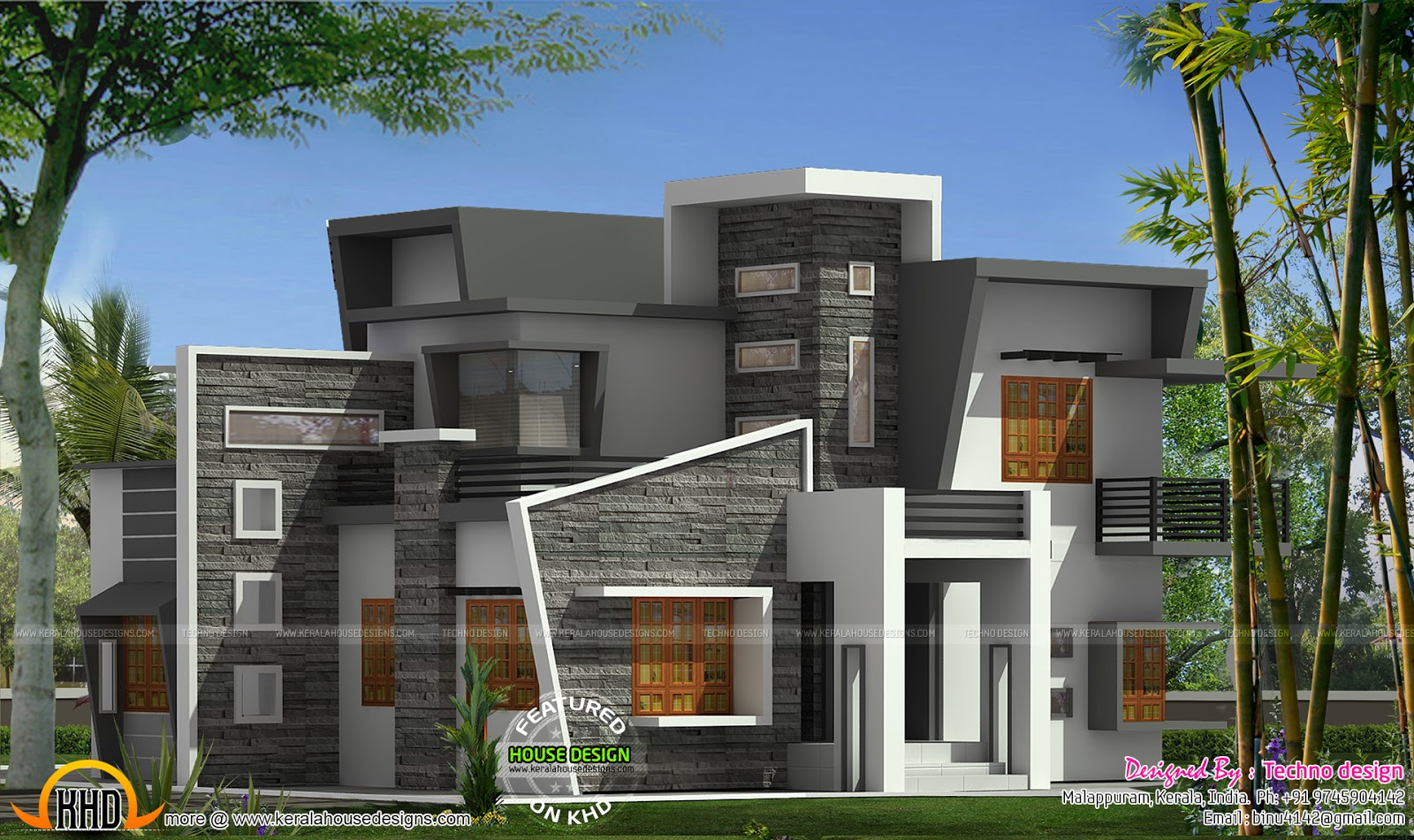 Box type home with cantilever balcony kerala home design for Modern unique house plans