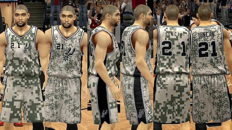 NBA2K Spurs Camo Jersey