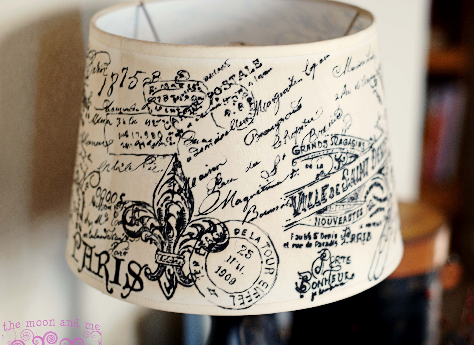 The moon and me diy french script lampshade copycat mozeypictures Image collections