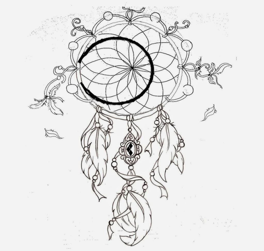 The gallery for dreamcatcher tattoo stencil for Dream catcher tattoo template