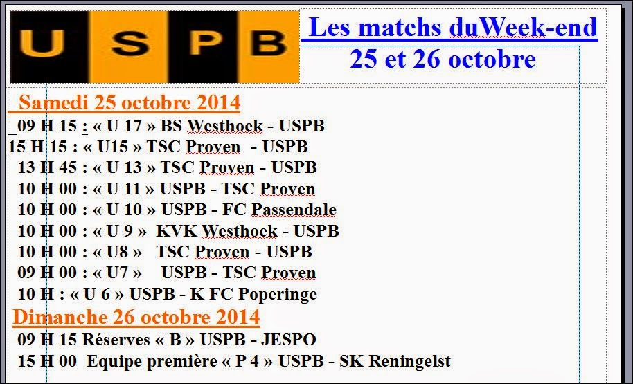 MATCHS DU WEEK-END 25 - 26 OCTOBRE