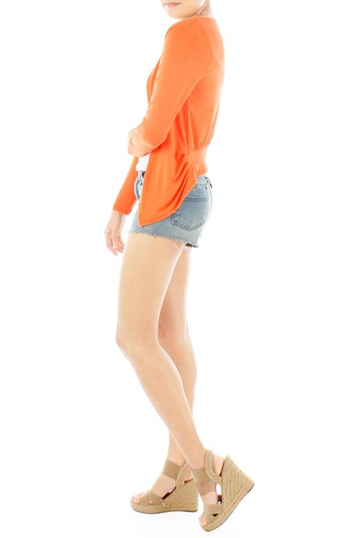 ESSENTIAL Open Cardigan With Pleat Drape Sides - Citrus Orange