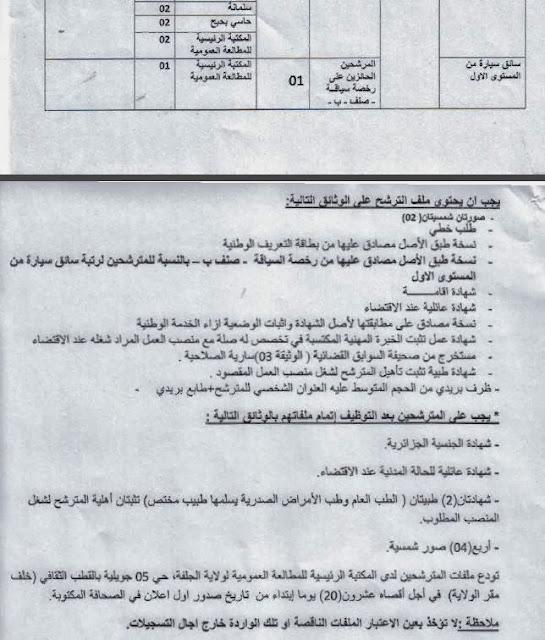 جديد الوظيف العمومي لولاية الجلفة لشهر أكتوبر 2013