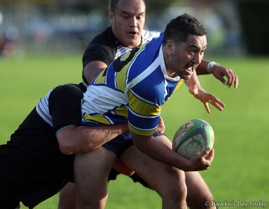 Napier Pirate Rugby and Sports (black) wrapped up Clive (yellow/blue) 26-14 - rugby at Park Island, Napier. photograph