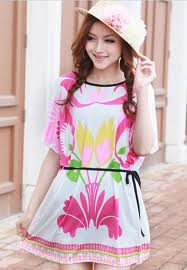 dress Korea Motif Bunga