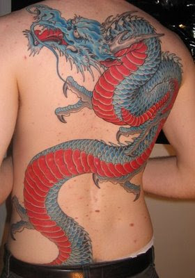 back dragon tattoo blue red dragon