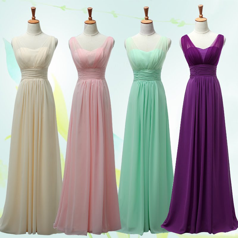 4-Color V-Wrap Chiffon Maxi Bridesmaids/Evening Dress