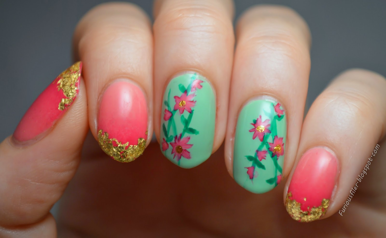 flowers gold leaf ombre oriental