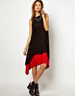 bol kesim hareketli kırmızı siyah uzun elbise