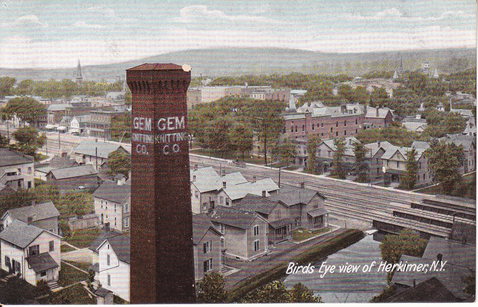 Bird's Eye View of Herkimer, N.Y. with Gem Knitting Company Vintage Postcard