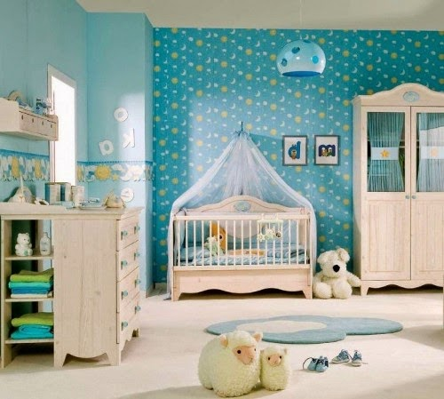 best baby room interior decorating with blue and white theme colour