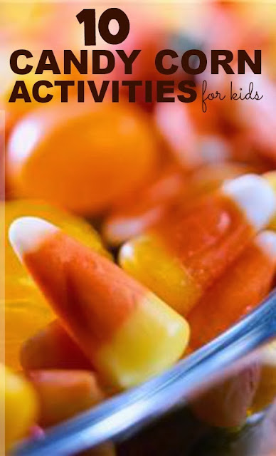 Fun candy corn activities for kids- lots of great ideas including arts, crafts, Science, sensory, and MORE!