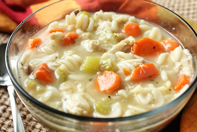 chicken noodle soup with carrots, celery and homemade broth