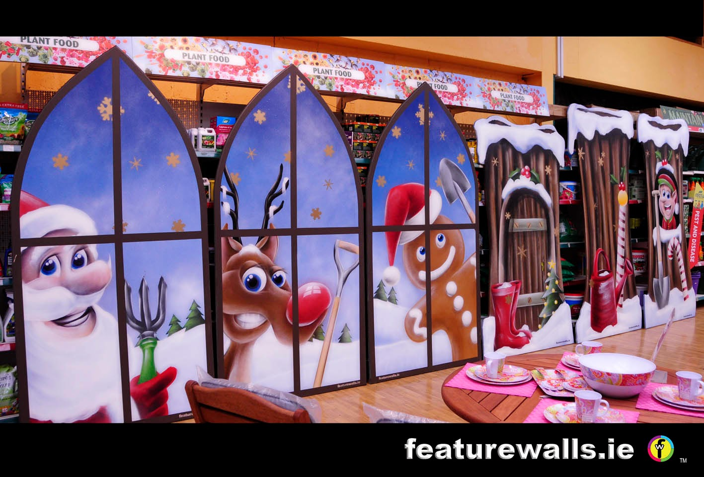Mural painting professionals christmas for Christmas window mural