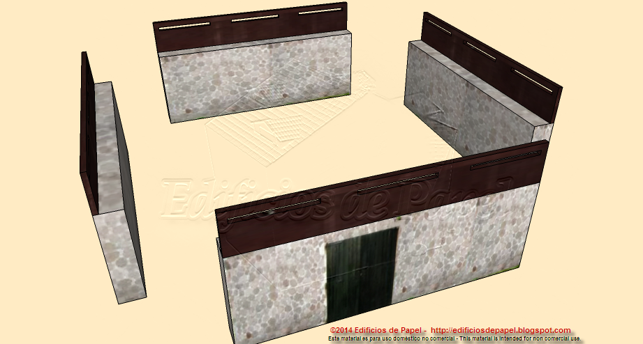 Walls of the third fortification set for your paper model lay out