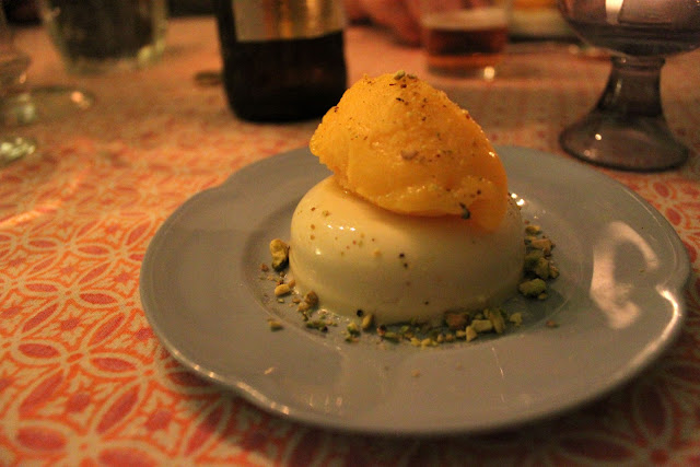 Chai pannacotta and mango sorbet, edinburgh supper club