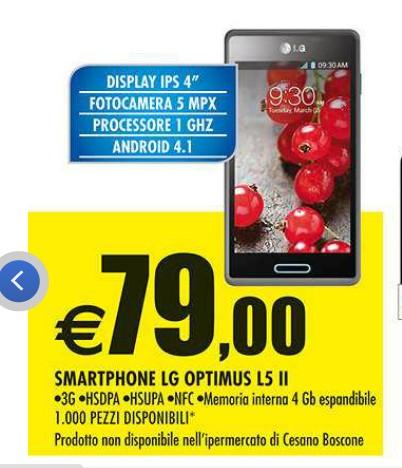 Da Auchan lo smartphone Android Lg Optimus L5 II al prezzo più basso attuale