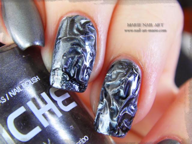 Nail Art effet métal froissé 3D4