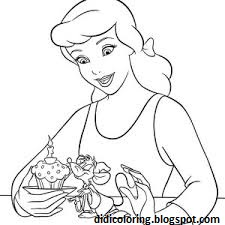 Free Printable Walt Disney Characters Cinderella Coloring Activity For GirlsCinderella With Her Friend Mouse SheetColoring Book Girls
