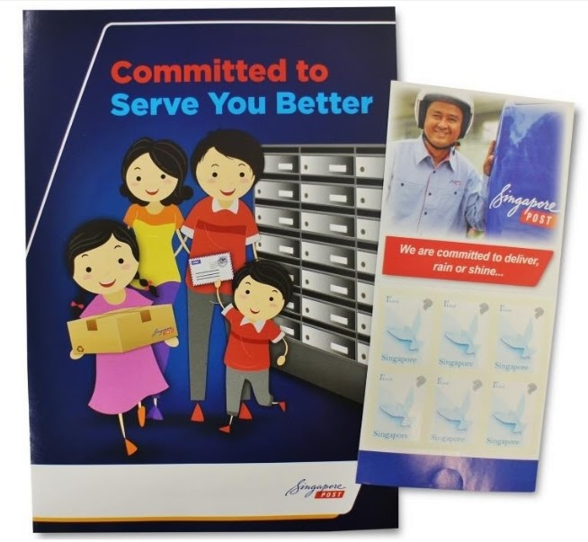 The mailing guide (left) and free stamp booklet being distributed by SingPost