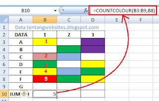 hitung jumlah cell berwarna tanpa kriteria di excel