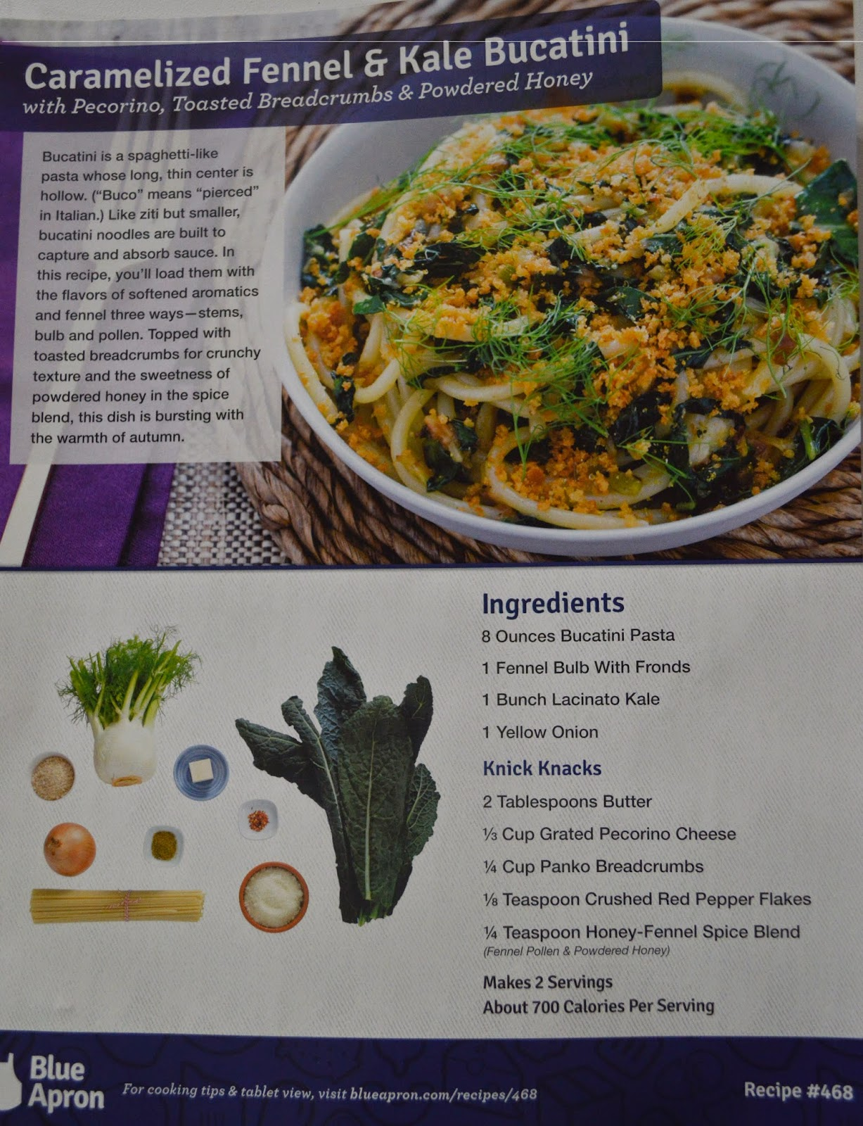 Blue apron bucatini - Lastly On The Third Evening Trey And I Made The Caramelized Fennel Kale Bucatini If You Couldn T Already Guess I Began With The Recipe Card
