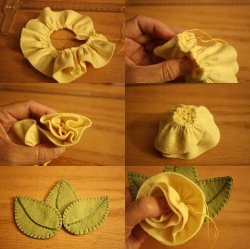 Flor de tecido e feltro passo a passo