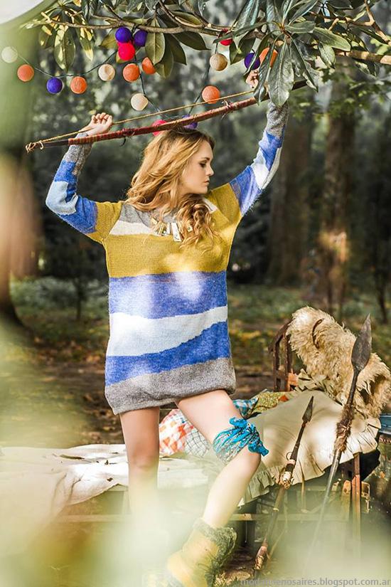 Sweaters y vestidos tejidos invierno 2014. Moda invierno 2014.
