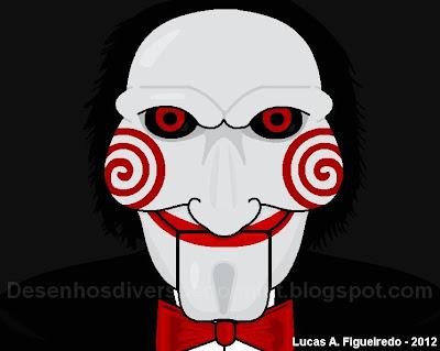 Desenho do Jigsaw, do filme Jogos Mortais, feito no Paint