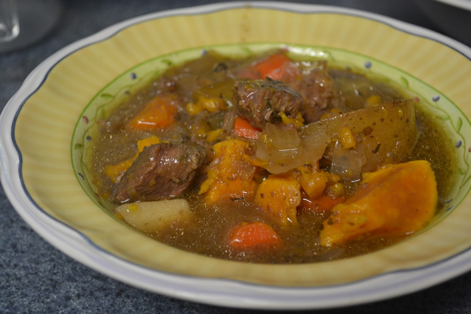 Beef stew from the crock pot, filling and tasty for