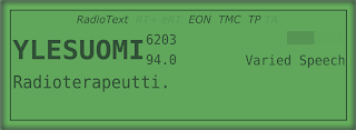 [Image: A screenshot resembling an LCD with various text fields. The dominating elements read 'YLESUOMI' and 'Radioterapeutti'. Smaller fields read '6203', '94.0', and 'Varied Speech'. A row of indicators shows positive status for 'RadioText', 'EON', 'TMC', and 'TP', and negative status for 'RT+', 'eRT', and 'TA'. There's also a signal level indicator showing roughly 40%.]