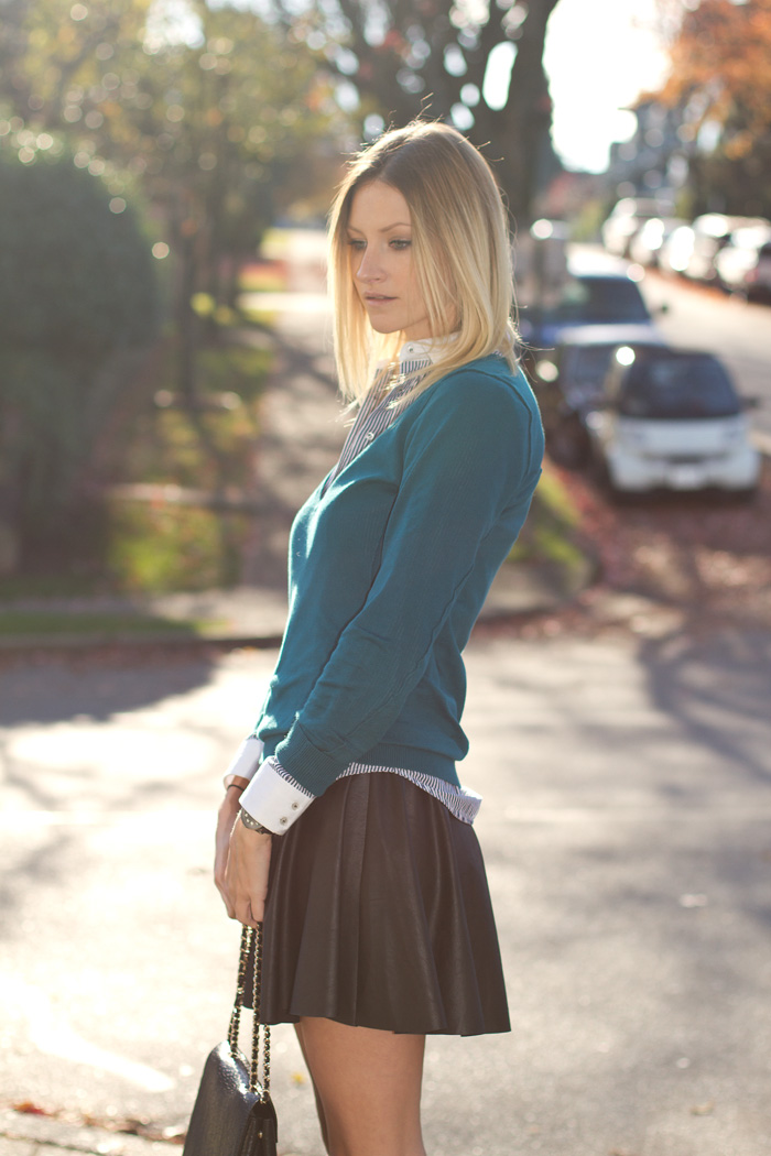 Vancouver Fashion Blogger, Alison Hutchinson, wearing teal blue sweater, striped blue Zara button-up, Bluejuice vegan leather skirt, Zara leopard print boots, Zara black leather bag, tiffany, pyrrha and La Dama necklaces