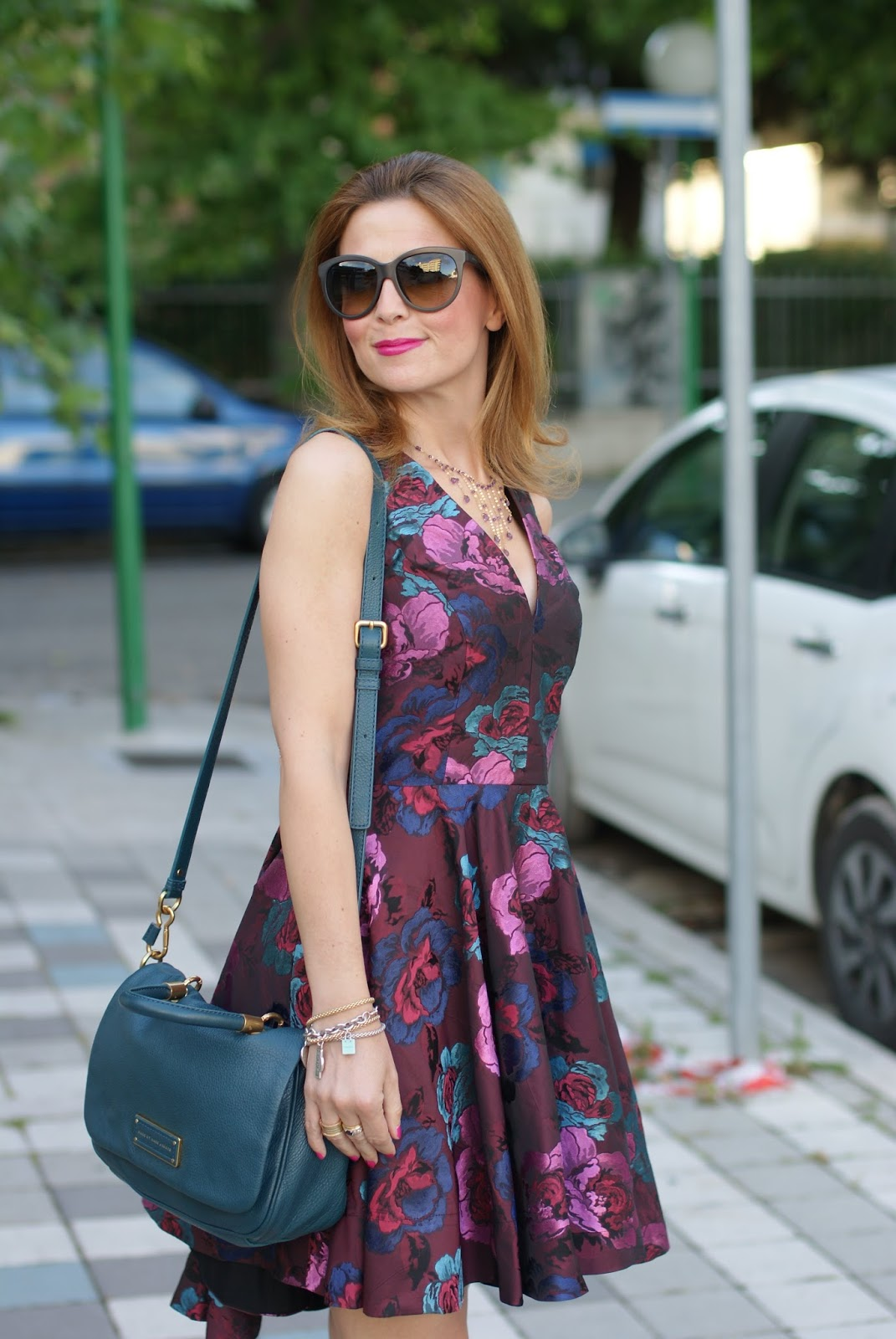 Jacquard skater dress on Asos, wedding guest idea, too hot to handle tote, Fashion and Cookies fashion blog
