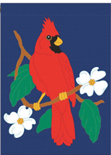 Cardinal and Dogwood Garden FLag
