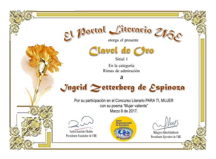 Diploma de Primer puesto en Unión Hispano mundial de escritores