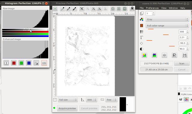 Preview do desenho à lápis sem alterar ainda o valor do gamma.