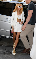 Rihanna white mini skirt