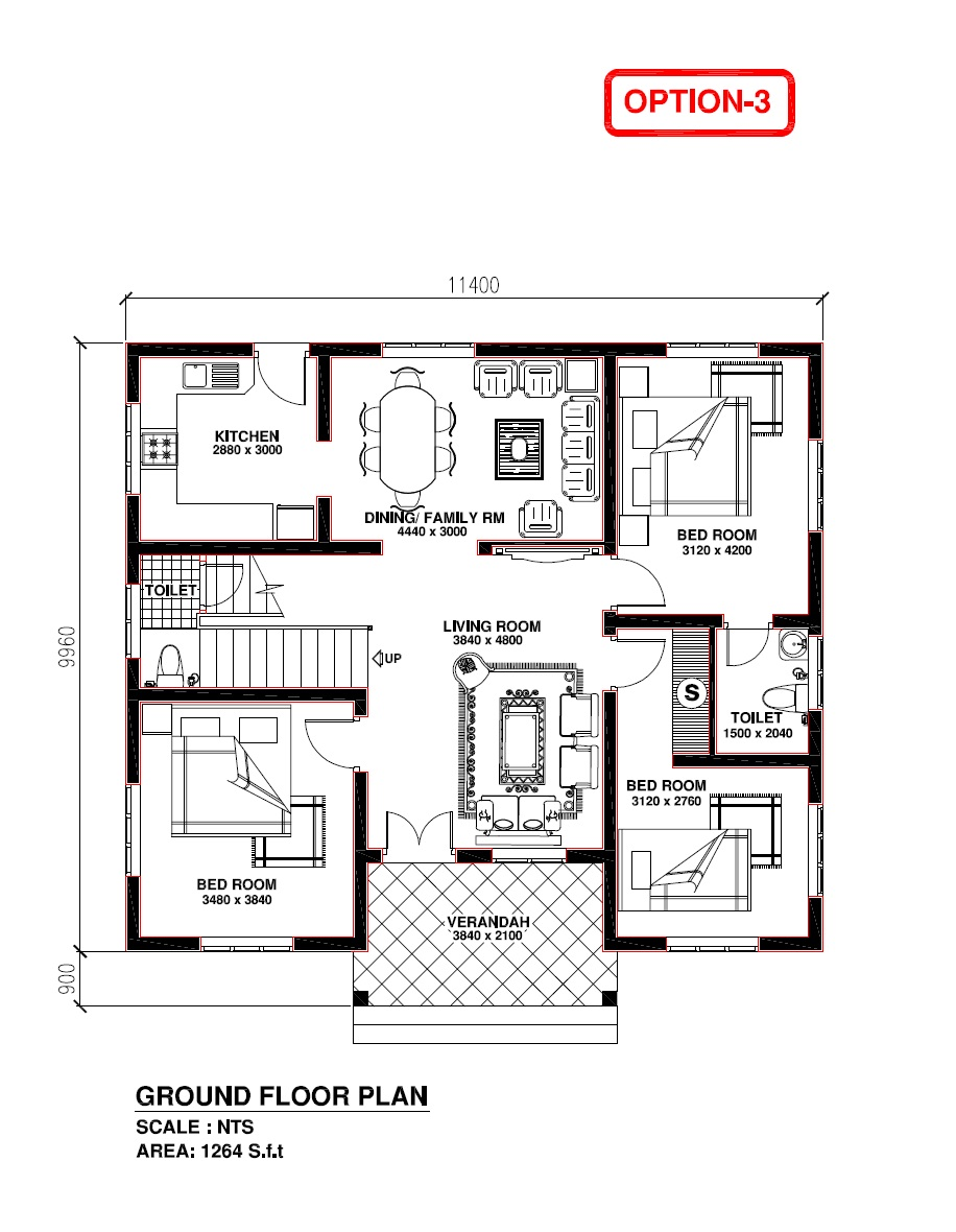 Free Home Plan  Kerala model house Plan 1264 s.f.t