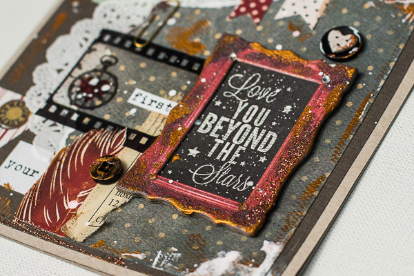 Love you beyond the stars card by Maria Potapovich using BoBunny Star-Crossed collection and Adhesive Film Strip