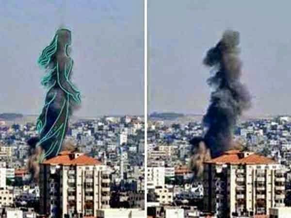 فلسطينيون يحولون دخان الغارات للوحات فنية 5
