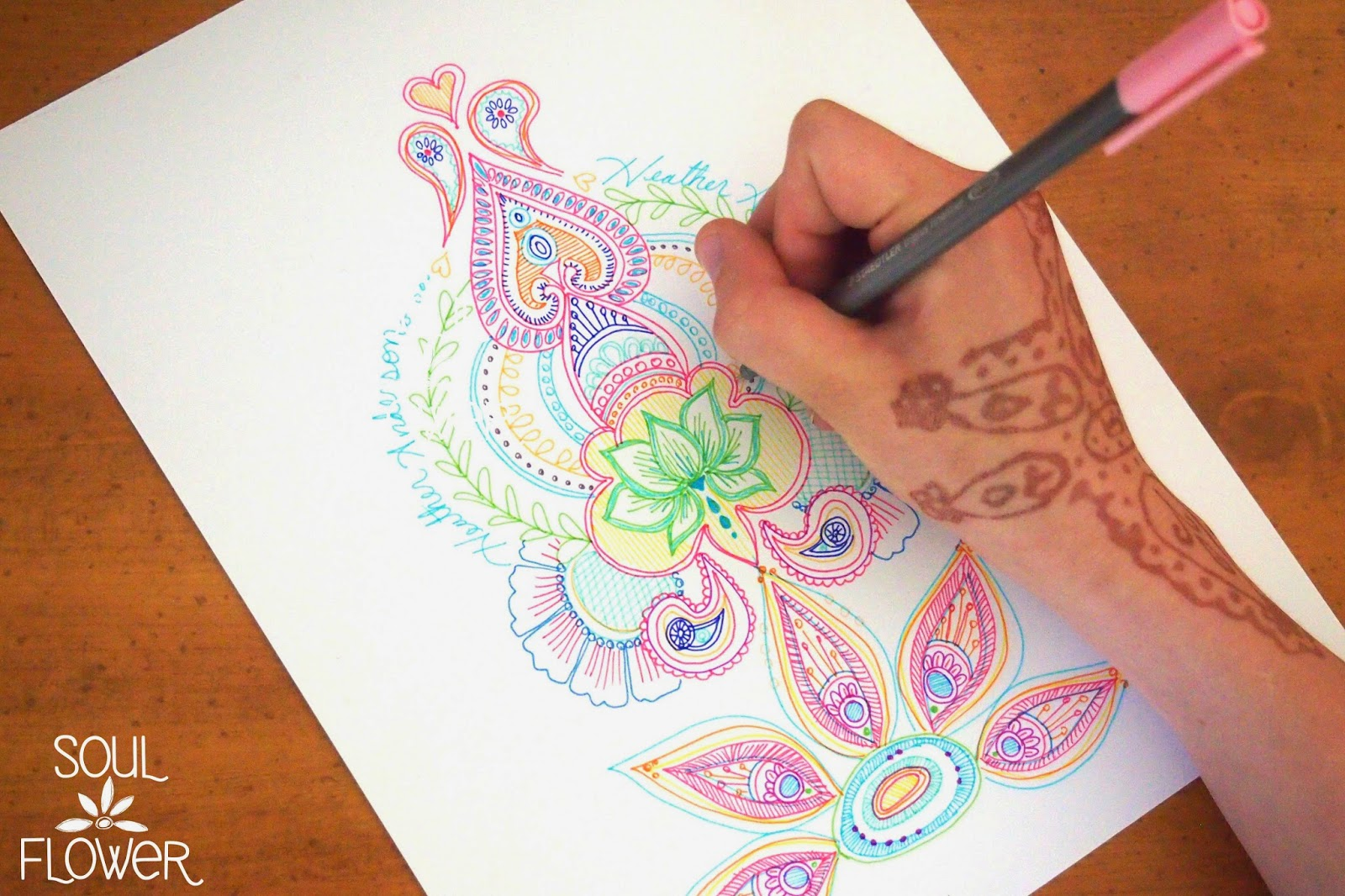 Mehndi Flower Designs Step By Step : How to create a henna design soul flower