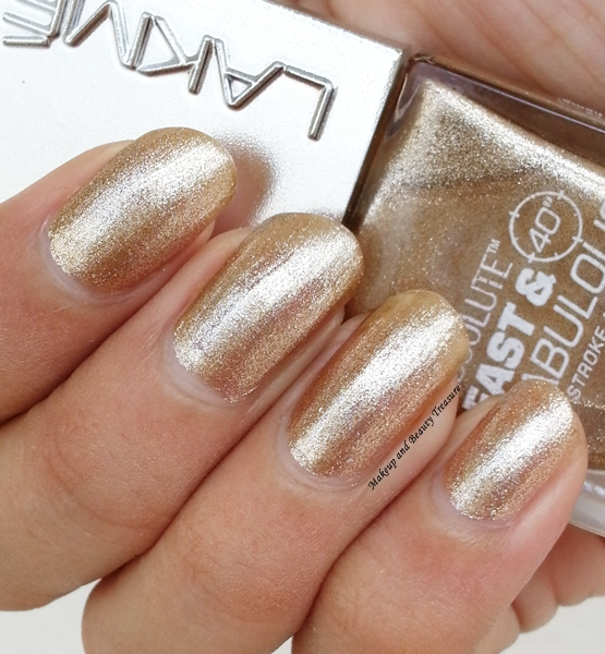Lakme Absolute Fast Fabulous Nail Polish In Gold Shimmer Review Swatches