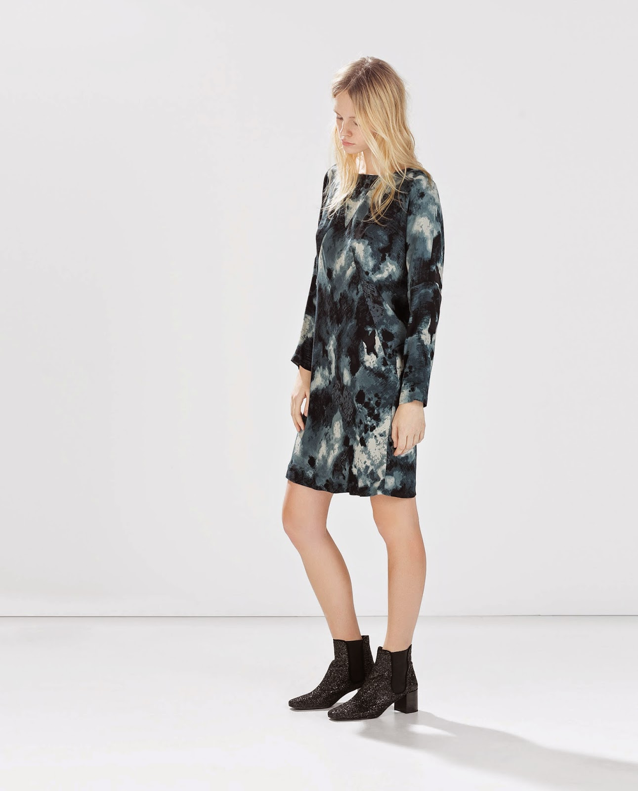 zara teal print dress