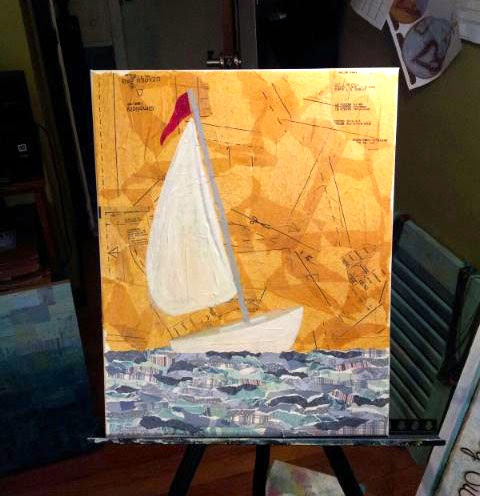Work in progress, Sailboat Mixed Media by Sue Allemand