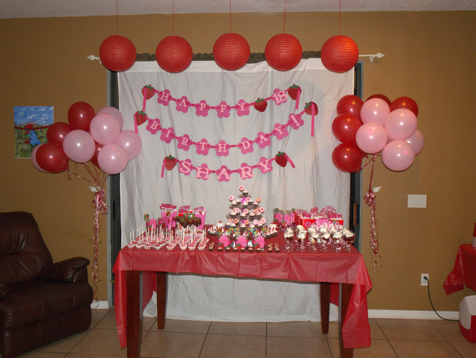 Juneills Parties Sweets Sharys Strawberry Shortcake Th - Table decoration ideas for 18th birthday