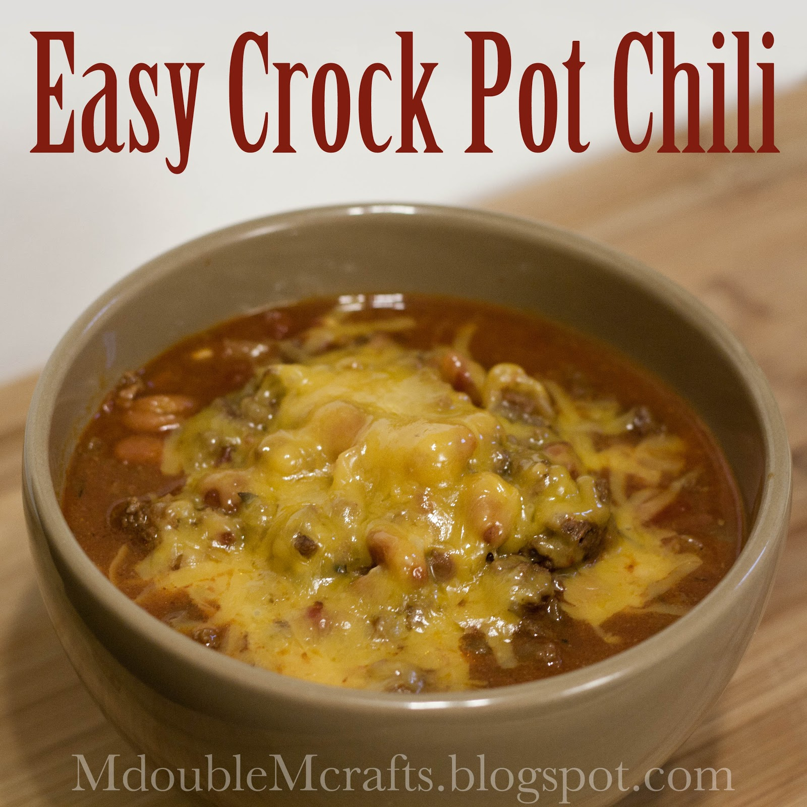 Aug 21,  · How to make this Easy Crock Pot Chili Recipe. Ingredients. 2 lbs browned and drained ground beef; 2 packages Chili-O chili seasoning; oz can peeled whole tomatoes or diced tomatoes; oz cans dark kidney beans; oz can of water; Directions. Place all the ingredients into a 6-quart crock pot and stir well.5/5(1).