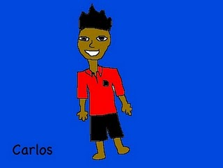 Carlos in his school uniform