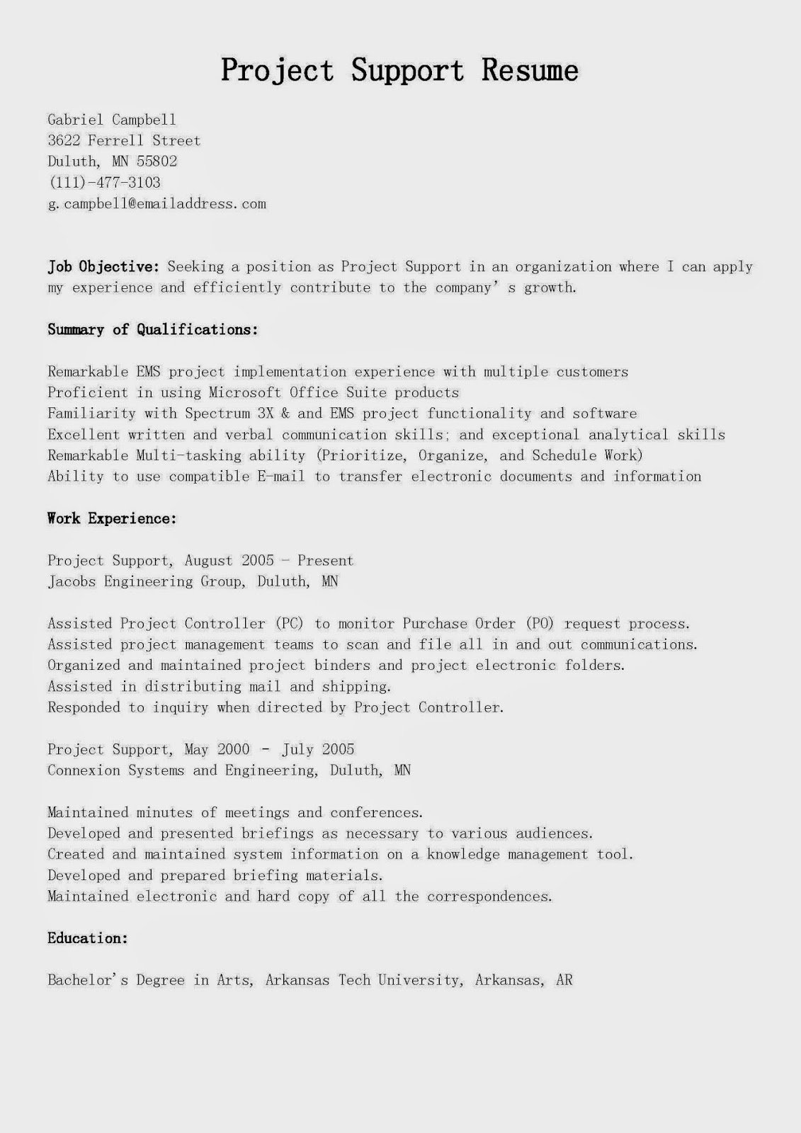 Doc Sample Resume for Server Position Writing A Resume For A